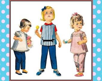 Vintage 1960s-DACHSHUND SMOCK TOP-Toddler Sewing Pattern-Matching Pants-Peter Pan Collar Blouse-Button Kack-Lace Trim-Applique-Size 1-Rare