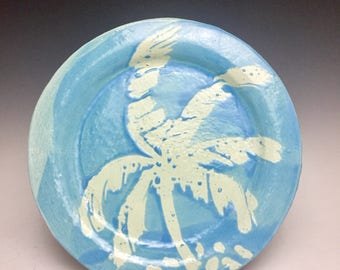 Dinner Plate: White and Blue; Tropical Palm; Handmade; Florida Key