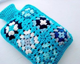 Hot Water Bottle Cover Cosy in Shades of Turquoise Green