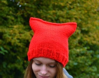 Womens Bright Red Chunky Knit Kitty Cat Hat, Also available in White