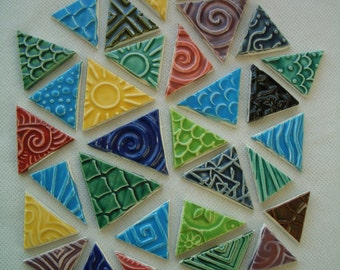 33BBB - 33 pc COLORFUL Stamped TRIANGLES - Ceramic Mosaic Tiles Set