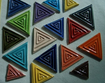 17GK - 17 pc STAMPED TRIANGLES -  Ceramic Mosaic Tiles Set