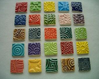 25CS - COLORFUL STAMPED Squares  - Ceramic Mosaic Tiles