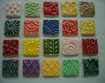 20SQ - COLORFUL Stamped SQUARES - Ceramic Mosaic Tiles