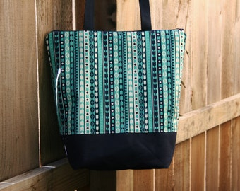 Aztec Stripe- Blue and Teal-Insulated Lunch Bag-Tote-Eco-Friendly and Washable-Water and Mildew Resistant Interior -Extra Large-Tall Size