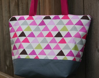 Pyramids Triangles Geometric Pink Green Grey Insulated Lunch Bag-Tote-Eco-Friendly and Washable-Water and Mildew Resistant Interior