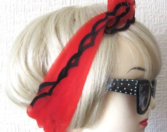 Red Chiffon Scarf with Scalloped Edges, very Rockabilly, Pin Up.  50s / 60s Vintage