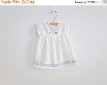 SALE // Vintage White Knit Bunny Dress