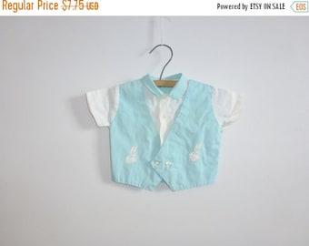 SALE // Vintage Light Blue Baby Boy Shirt
