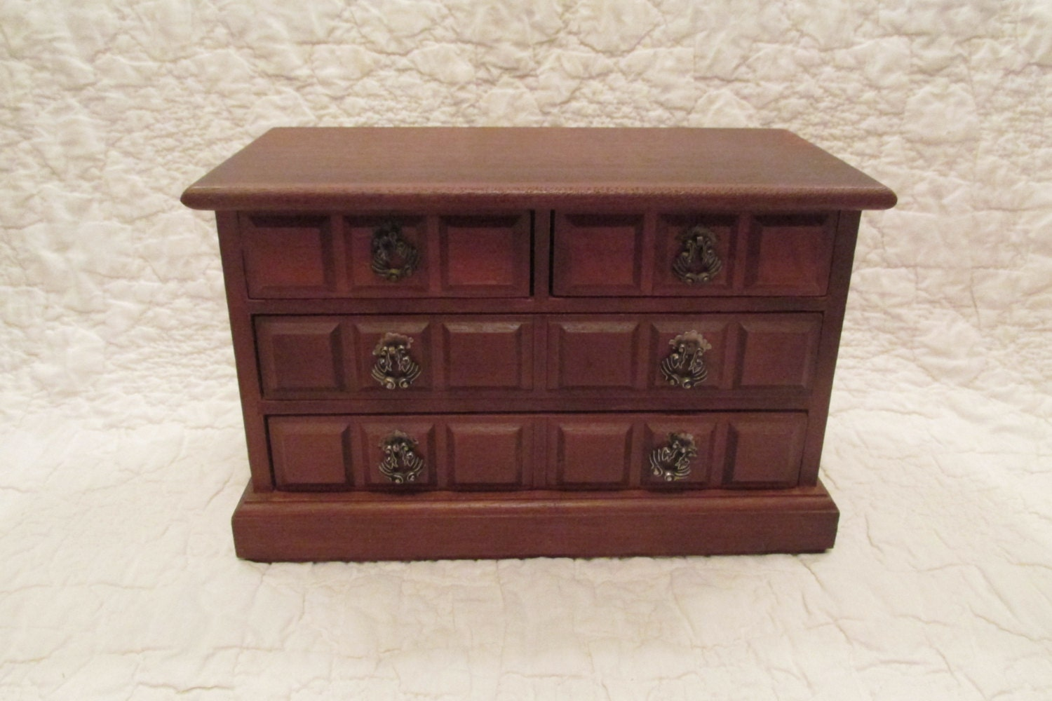 vintage jewelry box wood chest of drawers style retro. Black Bedroom Furniture Sets. Home Design Ideas
