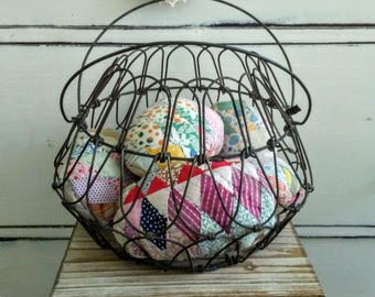 Antique Primitive Wireware Collecting Basket with Quilted Easter Eggs