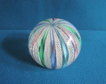 Vintage Beautiful Italian Hand Blown Art Glass Pastel Laticcino Artist Signed Paperweight