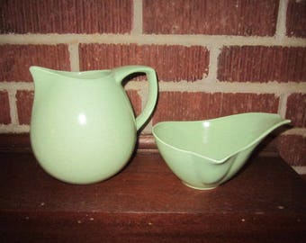Vintage Mid Century Modern Green Monterey California Pottery Pitcher and Sauce Bowl