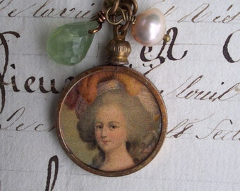 A Charmed Life - Vintage Assemblage Charm Pendant and Gems Necklace