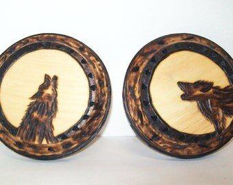 Wolf Plaques, Folk Art, Set of 2, OOAK Art, Wolves Woodburned Pyrography, Decorative Sepia, Wall Hanging, Rustic Cabin Home Decor