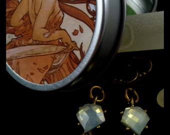 Antique Gold Brass Green Moonstone Rhinestone Earrings with Free Gift Tin and Free U.S. Shipping