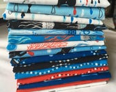 Come Dive With Me Fat Quarter Bundle Scuba Divers Submarines Boy Jellyfish Fish Quilting Sewing Blue Red Black piecesofpine