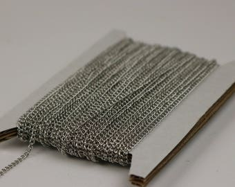 NEWnew 32 ft Rhodium Plated Solder LARGE Link Curb Chain  - 1.6mmx2.0mm SOLDERED Link
