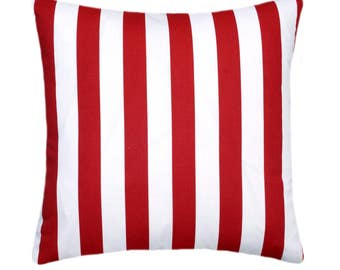 Red Striped Throw Pillow, Red White STUFFED Pillow, Decorative Throw Pillow, Red Stripe Accent Pillow, Red Pillow, Red Toss Pillow Free Ship