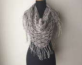 Boho Lace Fringed Scarf Shawl pale grey burgundy Eco Friendly Hemp sustainable fashion Summer Spring Fashion ready to ship