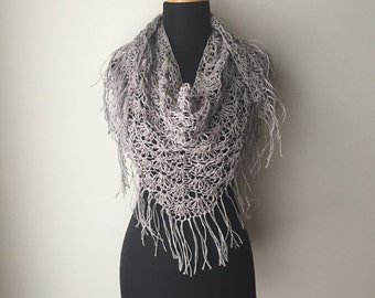 Boho Lace Fringed Scarf Shawl pale grey burgundy Eco Friendly Hemp sustainable fashion Summer Spring Fashion Made to Order