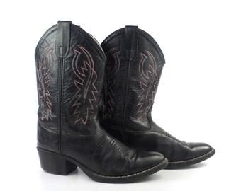Kids Cowboy Boots Vintage 1980s Black Leather Boots Kids size 3