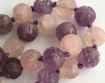Vintage Chinese necklace . Chinese  Carved Amethyst  .Art deco  jewelry