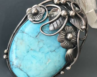 LARGE Vintage Navajo Pendant . Necklace  . Pin Brooch Sterling silver . Turquoise . VintageJewelry