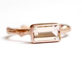 Morganite Twig Ring in Recycled 14k Gold - Baguette Morganite Gemstone - Engagement Ring -Diamond Alternative Engagement -Pink Gemstone Ring