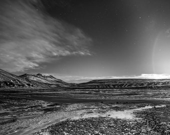 Iceland at Night, Ring Road, Black and White Photography, Road Trip, Scenery, Mountain Art, Starry Night, Monochromatic Art, Digital Print