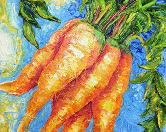 Carrots  8x8 Inch Original Oil Painting by Paris Wyatt Llanso FREE SHIPPING