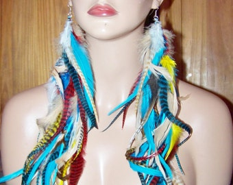Tribal Feather Earrings, Red White and Blue Feather Earrings, Festival Feather Earrings, Blue and White, Red White and Blue feathers
