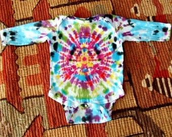 18m Long Sleeve Tie Dye Baby Onesie - Blotter - Ready to Ship