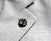 Lapel button. Men lapel pin. Round boutonniere. Velvet, brown, beige, dusty blue.
