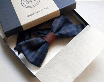 Men bow tie - Checkered bowtie - Italian bowtie - Pre tied bow tie - Made in Italy - Charcoal grey, blue, rust.