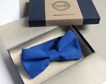 Men bow tie - Royal blue bow tie - Lightweight cool wool - Italian bowtie -  Pre tied bow tie - Made in Italy