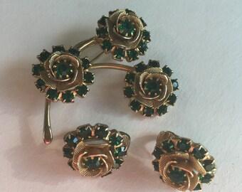 Vintage Green Rhinestone Earrings and Brooch Set