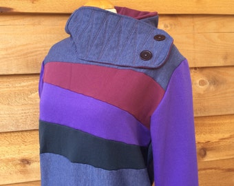 Hoodie Sweatshirt Sweater Handmade Recycled Upcycled One of a Kind BRUISED Ladies LARGE - Purple Blue Color Block Pockets