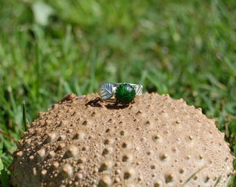 Green Chrome Diopside Sterling Silver Feather Leaf Ring