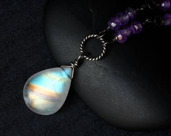 """Rainbow Moonstone Necklace, Amethyst Necklace, Oxidized Sterling Silver - """"Royal Moon"""" by CircesHouse on Etsy"""