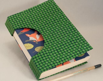 Journal, Notebook, Sketchbook or Guestbook, Unique and Hand-bound with a Rich Green Spotted Fabric Cover and Foxes on the Endpapers
