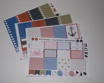 Nautical Weekly Sticker Kit / Great for your vertical Erin Condren Life Planner