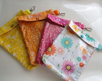 4 Clip Ouch Pouches Fun First Aid Cosmetic Clear Organizers Summer Vacation Travel Graduation Gift Dorm Room Medium 5x7 Your Choice Fabrics