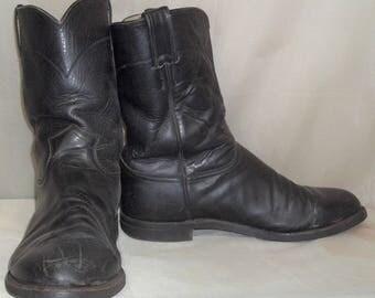 Vintage Black Justin Roper Barn Fresh Leather Cowboy Boots Mens 10 1/2 EE