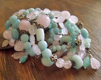 "Boho Wrap Bracelet with Rose Quartz and Amazonite Gemstone Beads, Sterling Silver Accents, Memory Wire Bracelet ""Faire Spring"""