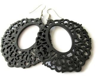 Large Black Oriental Style Wooden Earrings
