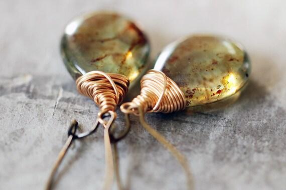 Moss Green Glass Teardrop Earrings with Antique Brass