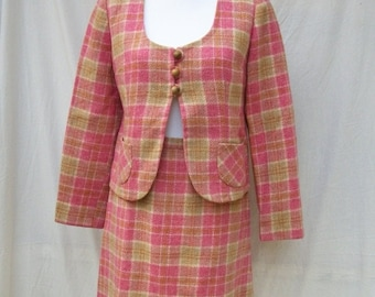 SALE 60s Pink Plaid Suit size Small Medium Jacket and Skirt Set 60s Wool Suit