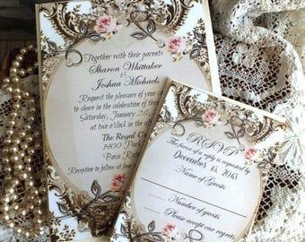 CUSTOM ORDER for  dballman100...Vintage Romantic Wedding Invitation Handmade by avintageobsession on etsy