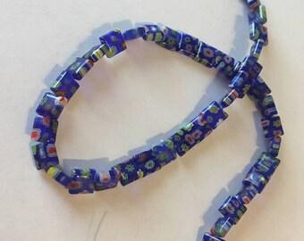 Cobalt Blue Millefiori flower beads -15 inches- 8x8mm